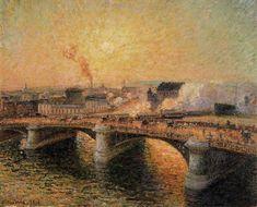 The Pont Boieldieu, Rouen, Sunset - Camille Pissarro