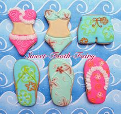 Summer Swimsuits and flip flop cookies