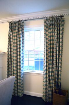 Premier Prints Eaton Blue Chipper Ikat Pinch Pleat Drapes 2
