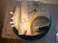 Saiful 28th Birthday cake #architect #archicake Daddy Birthday, 28th Birthday, Architecture Cake, Engineering Cake, Drum Cake, Sweets Cake, Birthday Cake Decorating, Just Cakes, Family Birthdays