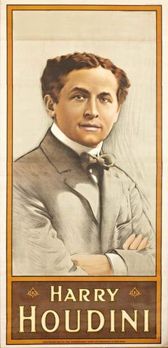 "Harry Houdini, Portrait for President, 1911 3 sheet, Strobridge Litho Co., Cin'ti & New York, linen mounted & restored. Handsomely framed. 82.5"" x 40"" The most famous name in magic, Houdiniana has become extremely valuable as pure collectible Americana, towering over all other entertainment figures of the first two decades of the 20th Century."