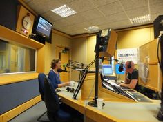 Pauline Rowson in the studio with Julian Clegg, BBC Radio Solent - July 2012