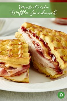 Moms will love waking up to the Monte Cristo Waffle Sandwich. This sweet and savory recipe from Publix layers waffles cheeses sliced ham turkey and a spread of raspberry jam thats sure to leave Mom with a smile. Breakfast And Brunch, Breakfast Dishes, Mexican Breakfast, Breakfast Pizza, Breakfast Recipes, Waffle Maker Recipes, Pancake Recipes, Sandwich Recipes, Publix Aprons Recipes