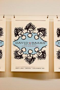 David Bazan Gig Poster. $15.00, via Etsy.
