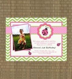 Ladybug Birthday Invitation - Girls Printable Lady Bug Invitation - Printable Pink and Green Girls Party - 1st Birthday Invitation