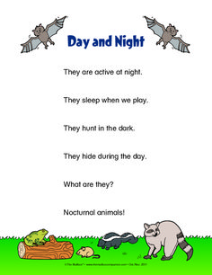 A poem for your science unit of day and night as well as a study of nocturnal animals! Fall Preschool, Preschool Science, Toddler Preschool, Preschool Ideas, Preschool Letters, Nocturnal Animals, Forest Animals, Woodland Animals, Preschools