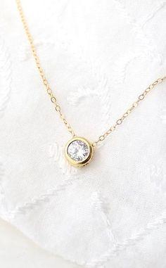 Round Solitaire Necklace Cubic Zirconia Necklace