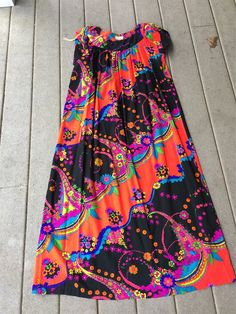 Hawaiian Maxi Dress DayGlow Neon Colors MOD Floral and Swirl