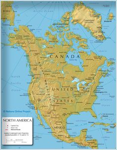 the map shows the states of north america canada usa and mexico with national