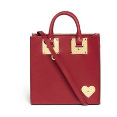 Sophie Hulme Albion heart plate square leather box tote ($805) ❤ liked on Polyvore featuring bags, handbags, tote bags, red handbags, genuine leather tote, tote handbags, red leather purse and leather purses