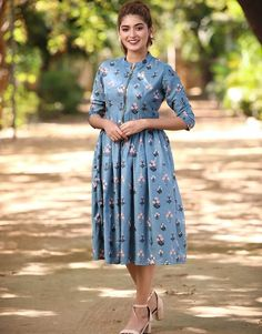 Blue Chloe Zipper Dress from the house of The Western Wear Dresses, Casual Frocks, Baby Frocks Designs, Frock Design, Saree Dress, Indian Dresses, Traditional Dresses, Cyan Blue, Purple