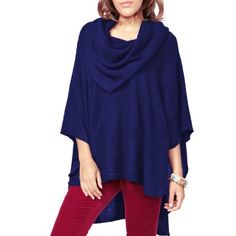 Parisbonbon Women's 100% Cashmere Pockets Poncho Color Dark Blue Size XL *** Details can be found by clicking on the image.