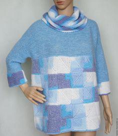 """Купить Пуловер пэчворк альпака-мохер-меринос """"Микс"""" - комбинированный, в клеточку, авторская ручная работа"""