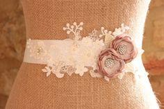 Dusky rose and ivory wedding sash, bridal wedding sash, dusky rose flowers, floral wedding belt, fabric flower sash -'Eve' by IvoryRosebySarah on Etsy