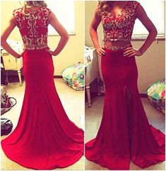 Red prom Dress,Charming Prom Dresses,Two pieces prom Dress, prom dress,Party prom dress