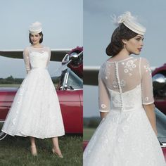 Tea Length Wedding Dresses With Half Sleeve White A Line Appliques Pleat…