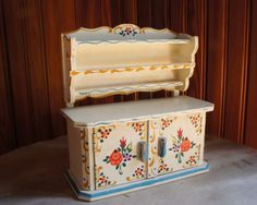 "Doll House Furniture Kitchen Hutch Kitchen Cabinetry Hand Painted 6""x 5 75 
