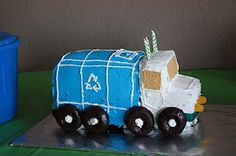 Garbage truck cake (with Link to party games for trash truck themed party)