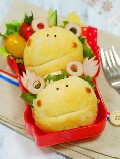 「かえるバーガーのおべんとう」:てしぱんさんの簡単かわいいおべんとさん:レシピブログ