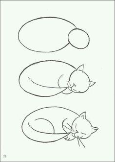 Hoe teken je een slapende kat?