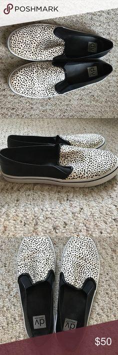 DV Dolce Vita Sassi Calf Hair Slip-on Sneakers DV calf hair slip on sneakers in black leather/white&black print calf hair, only worn 2 times! Very good condition! DV by Dolce Vita Shoes Sneakers