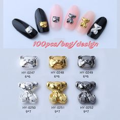 korea nail art bear designs metal decoration sticker with metal wheels retro