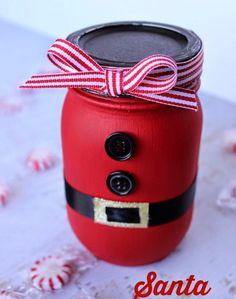 bricolage Noël enfant - bocal décoré de peinture rouge et d'un nœud et déguisé en père Noël