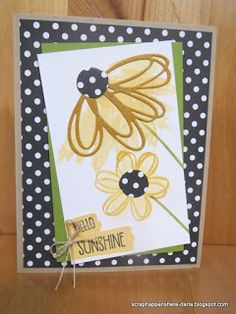 Scrap Happens Here - Stampin' Up! with Darla: Sunshine Wishes Summer Facebook Hop - 8/7/16. (SU-Sunshine Sayings stamps/ Sunshine Wishes thinlits). (Pin#1: Flowers: SU-3D/ Dies...; Pin+: Thinking of You).