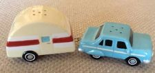 1950's STYLE - SALT & PEPPER SHAKERS- CAR AND TEAR-DROP TRAILER
