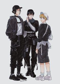 Eren, Mikasa, and Armin Eren And Mikasa, Levi X Eren, Levi Ackerman, Attack On Titan Funny, Attack On Titan Fanart, Attack On Titan Ships, Chibi, Fanarts Anime, Anime Characters