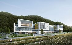 Daegu Specialized Students with Disabilities - Different and beautiful ideas Hospital Architecture, Office Building Architecture, Education Architecture, Building Design, Modern Architecture, Daegu, Hospital Design, School Building, Conceptual Design