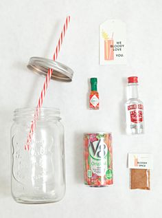 Make your own Mason Jar Bloody Mary Gift + Spice Mix! In this tutorial we share how to make the most adorable mason jar bloody mary gift you've ever seen, plus a recipe for the best bloody mary spice mix ever! Mason Jars, Mason Jar Gifts, Mason Jar Cocktails, Diy Christmas Gifts, Holiday Gifts, Craft Gifts, Diy Gifts, Cocktail Gifts, Alcohol Gifts