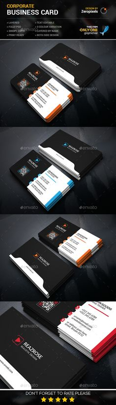 Creative Corporate Business Card Template #design #print Download: http://graphicriver.net/item/creative-corporate-business-card/11949848?ref=ksioks