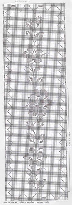 Kira scheme crochet: Scheme crochet no. Filet Crochet Charts, Crochet Doily Patterns, Crochet Borders, Thread Crochet, Crochet Motif, Crochet Designs, Crochet Doilies, Crochet Stitches, Knit Crochet