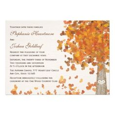 Carved Tree Initials Fall Wedding Invitations Personalized Announcement