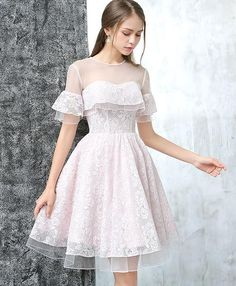 Cute A Line Round Neck Short Lace Prom Dress,Short Lace Formal Dress,Graduation · Sweet Bridal · Online Store Powered by Storenvy Backless Homecoming Dresses, Cute Prom Dresses, Junior Dresses, Cheap Dresses, Women's Dresses, Short Dresses, Fashion Dresses, Formal Dresses, Dress Prom