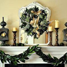 Simple Garden-Inspired Christmas Mantel