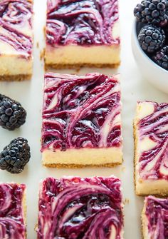 Fresh and Fruity Blackberry Cheesecake Bars! Creamy and rich, these taste just as good as regular cheesecake but MUCH easier to make. Blackberry Dessert, Blackberry Cheesecake, Blackberry Recipes, Small Food Processor, Food Processor Recipes, Brownie Recipes, Cheesecake Recipes, 16 Bars, Savarin
