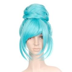 Turquoise Blue Anime Cosplay Costume Wig with Top Bun