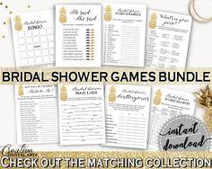 Games Bundle Bridal Shower Games Bundle Pineapple Bridal Shower Games Bundle Bridal Shower Pineapple Games Bundle Gold White prints 86GZU #bridalshower #bride-to-be #bridetobe