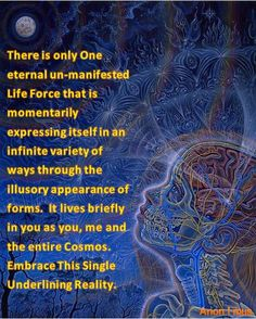 There is only One eternal un-manifested Life Force that is momentarily expressing itself in an infinite variety of ways through the illusory appearance of forms. It lives briefly in you as you, me and the entire Cosmos. Embrace This Single Underlining Reality.   Anon I mus
