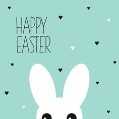 Vrolijk kaartje met wit konijn en happy easter tekst in engels. Modern ontwerp met mint pastel achtergrond en lief hartjes patroon. https://www.kaartje2go.nl/paaskaarten/grappig-konijn-happy-easter