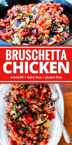 whole 30 recipes Healthy Bruschetta Chicken contains many of the flavors you love from traditional bruschetta but now you can enjoy it for dinner! This one is a family favorite for good reason! Plus its dairy free, and gluten free! Sem Gluten Sem Lactose, Healthy Banana Bread, Recipe 30, Recipe Ideas, Le Diner, Whole Food Recipes, Recipes Dinner, Whole 30 Chicken Recipes, Whole 30 Recipes
