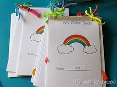 Rainbow Party :: Free printable color books and other summer rainbow activities Preschool Colors, Teaching Colors, Preschool Activities, April Preschool, Rainbow Activities, Rainbow Theme, Rainbow Colors, Party Unicorn, Coloring Books