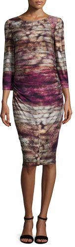 Kay Unger New York 3/4-Sleeve Printed Jersey Dress