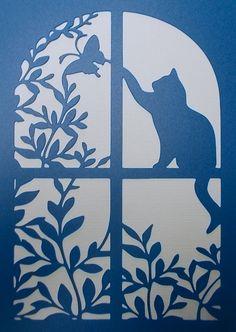 Gabarit de fenêtre de chat par kraftkutz sur Etsy