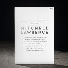 Modern Trenton foil stamped Bar Mitzvah invitations from Smock | #typography #foil
