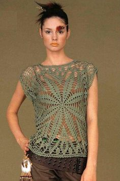 Crochet top. Probably any lacy square worked in larger thread/yarn would work. This would be a cute and quick summer top to add to my wardrobe.