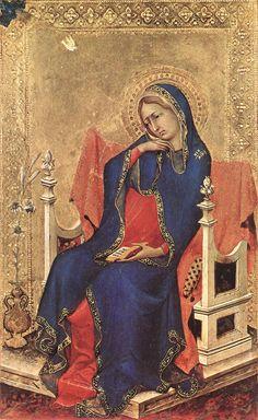 Simone Martini - Vergine dell' Annunciazione, Polittico portatile Orsini, dettaglio  - 1333 - Musée des Beaux-Arts d'Anvers (Belgique)