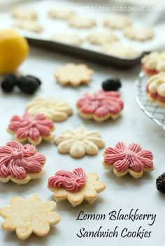 Lemon Blackberry Spritz Sandwich Cookies.